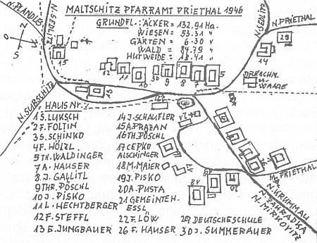 Plánek vsi Malčice s majiteli domů roku 1946 - škola je označena číslem 29