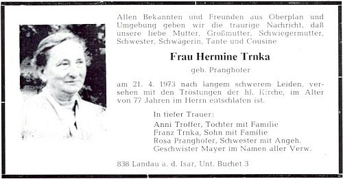 Parte paní Hermine Trnka, roz. Pranghofer, z Landau an der Isar