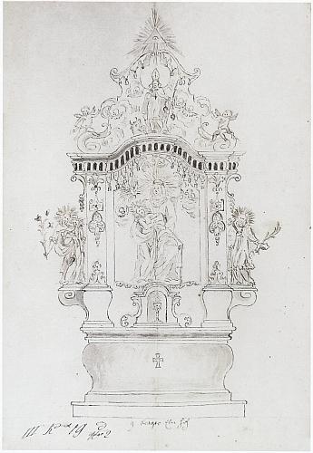 Návrh hlavního oltáře kostela v Libínském Sedle od netolického truhláře Veitha z roku 1739