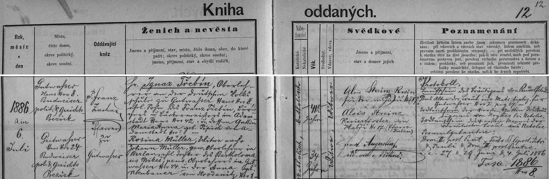 Záznam o jeho druhé svatbě v dobrovodské knize oddaných