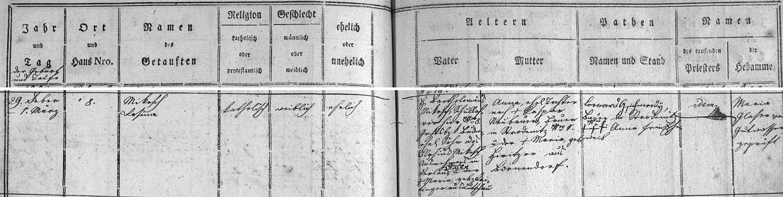 Záznam doborovodské křestní matriky o narození jeho druhé ženy Rosiny, roz. Mikeschové, dcery Trzebinova předchůdce ve funkci ředitele školy