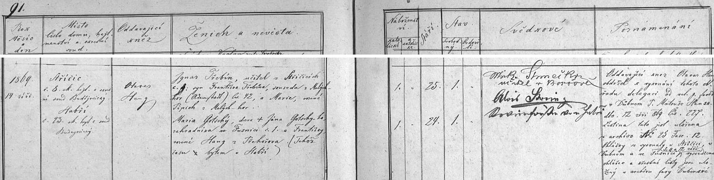 Záznam o jeho první svatbě ve střížovské knize oddaných
