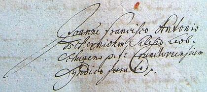 Titulní list rukopisu jeho veršované historie Křížové hory z roku 1710