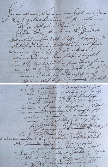 Dvě ukázky ze stránek Tschernichenova rukopisu