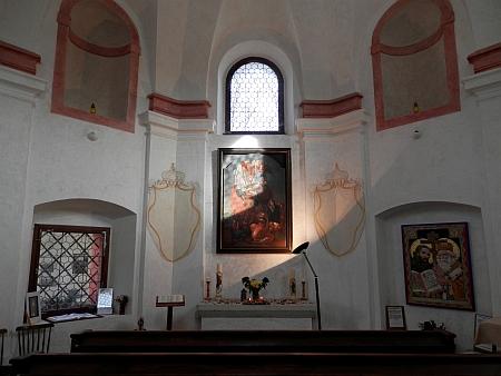 Interiér kaple v roce 2021