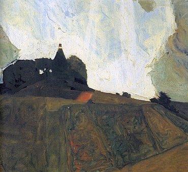 Egon Schiele, Bouřková hora, detail olejomalby z roku 1910