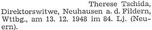 Drobná zpráva o úmrtí jeho ženy po odsunu ve württemberské obci Neuhausen auf den Fildern