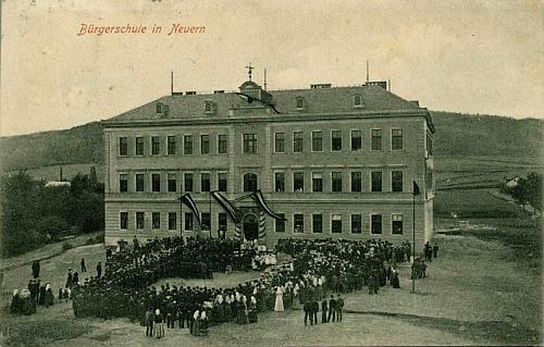 Vysvěcení nové budovy obecné a měšťanské školy v Nýrsku dne 25. září 1889