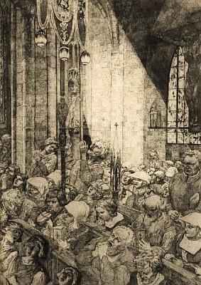 "Lept Ferdinanda Staegera z roku 1921, nazvaný ""V kostele"""
