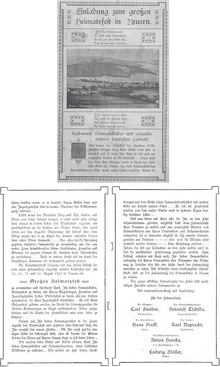 Pozvánka (1912) k domovské slavnosti v Nýrsku, provázená i jeho jménem (viz i Richard Katz)
