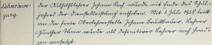 """Zpráva o jeho odchodu z Líní """"nach Hradzen"""", tj. do Hradce u Stoda, ve školní kronice"""