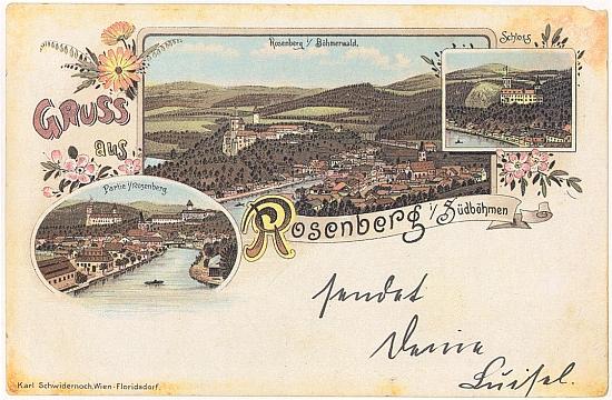 """I tato barevná stará pohlednice Rožmberka """"na Šumavě"""" a """"v jižních Čechách"""", která pochází od vídeňské firmy Schwidernoch, zdůrazňuje vltavský ohyb"""