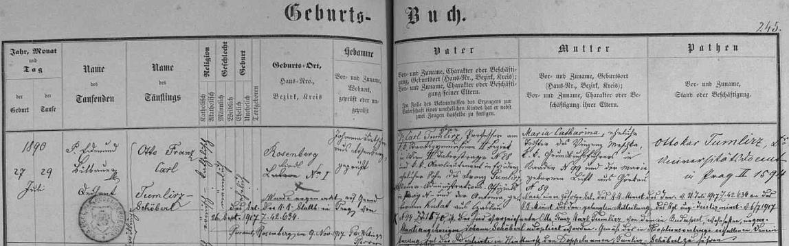 Podle záznamu v Knize narozených města Rožmberk nad Vltavou spatřil tu světlo světa dne 27. července roku 1890 jako jedno z dvojčat (on byl pokřtěn jménem Otto Franz Carl Tumlirz, sestra jménem Maria Antonia Aloisia Tumlirz), rodičů Dr. Carla Tumlirze, profesora na c.k. gymnáziu ve Vídni a nadporučíka c.k. armády (jeho otec Franz Tumlirz byl oficiálem v Praze, matka Antonia, roz. Kubatová, pocházela z Čáslavi) a Marie Cathariny, roz. Maschkaové, pocházející z Kadaně - přípis uvádí dále, že Otto Franz Karl Tumlirz byl roku 1917 adoptován uherským státním příslušníkem Johannem Schöberlem a zdvojil své příjmení na Tumlirz- Schöberl
