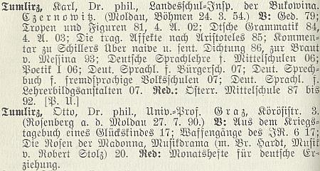 Tady se otec a syn Tumlirzovi ocitli v lexikonu sudetoněmeckých spisovatelů, který vydal Friedrich Jaksch, vedle sebe
