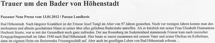 Zpráva o jeho úmrtí v německém tisku