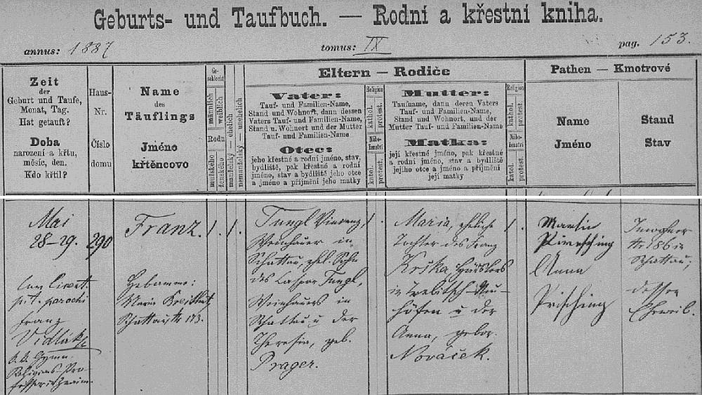 Záznam o jeho narození na stránkách šatovské křestní matriky
