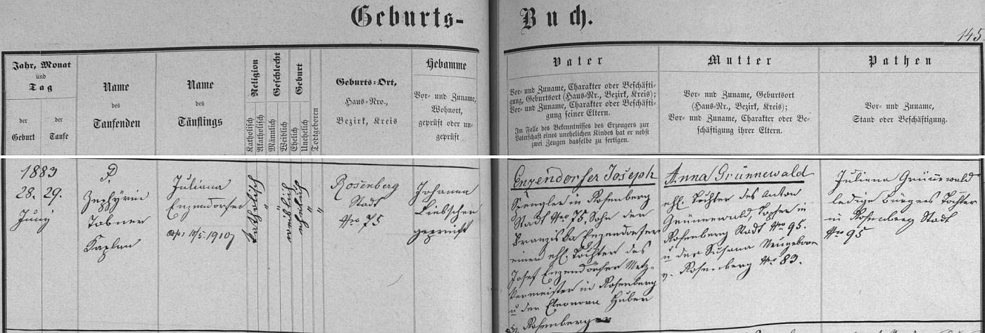 Záznam o narození jeho ženy v křestní matrice farní obce Rožmberk nad Vltavou