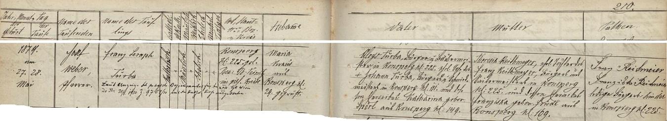 Záznam o jeho narození a křtu v ronšperské matrice s pozdějším přípisem o jeho vídeňském vystoupení z církve roku1910