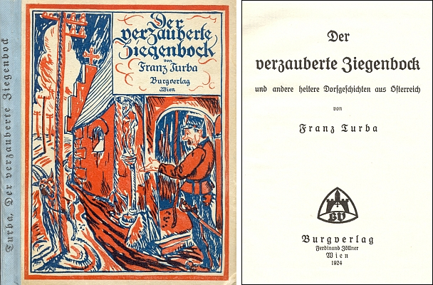 Vazba a titulní list (1924) jiné jeho knihy z vídeňského nakladatelství Burgverlag