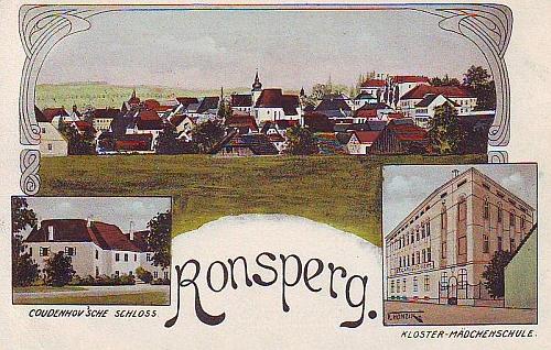 Stará pohlednice rodných Poběžovic