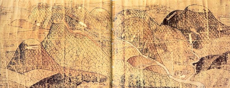 """""""Mapa"""", spíše bychom řekli obraz, malíře Michaela Ersingera ze Straubingu, vytvořený roku 1569, zachycuje vpředu vlevo Malý Javor (zde Ilmanschwart), Velký Javor (zde Erbo), za ním Svarch (Zerch Eckh) a vlevo od něho Ostrý (Osser) a Vysoký Bogen (Hochpogen) - jistě nápadná je """"listnatost"""" tehdejších lesů, v tomto případě těch kolem Železné Rudy, které byly předmětem sporu mezi Čechami a Bavorskem, jehož panovník Albrecht V. (1528-1579) si""""mapu"""" objednal"""