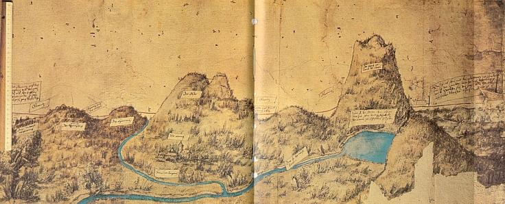 Nejstarší ručně kreslená mapa bavorské hranice z roku 1514 v tomto detailu zachycuje uprostřed nalevo dvojvrchol Ostrého (zde Obser), s hradem na vrcholu vpravo a s osadou Lam (Lamb) pod sebou, napravo mohutný vrchol hory Javor (zde Aetwa) s Velkým Javorským jezerem a z něho vytékající bílou Řeznou (Weiß Regen)