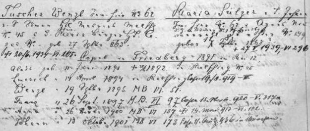 Rodina Wenzla Tuschera v indexu vyšebrodské matriky