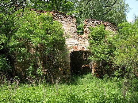 """Zbytky jednoho ze stavení někdejší obce Osí na snímku z roku 2008, udávajícím jeho polohu """"vlevo za kapličkou"""""""