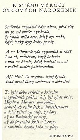 Když vyšel roku 1972 pamětní tisk kestému jubileu knihtiskárny veVimperku, zdobila jej vúvodu báseň Antonína Sovy - jako by ji psal ipro Bettyina otce, přestože vznikla jistě mimo Steinbrenerových okruh