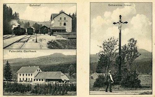 Černý Kříž a staré pohlednici Josefa Seidela a dnešní podoba kříže, který dal na místě toho, který byl v roce 2006 vyvrácen povodní, zřídit Národní park Šumava voriginální velikosti - kvysvěcení došlo dne 14. srpna roku 2009
