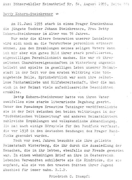 Opis jejího nekrologu z krajanského časopisu Böhmerwäldler Heimatbrief, který tam napsal v roce 1955 Friedrich C. Stumpfi