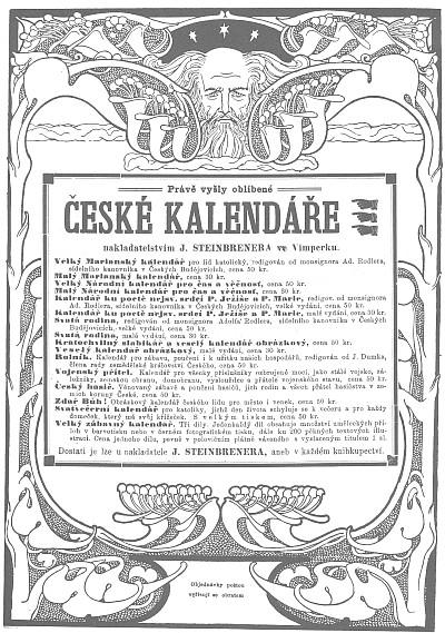 Secesní reklama na české kalendáře od Steinbrenerů zVimperka