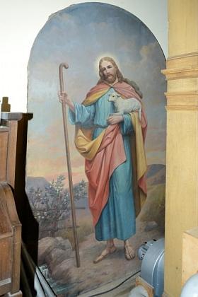 """Obraz """"Dobrého pastýře"""", původně umístěný na hlavním oltáři evangelického kostela"""