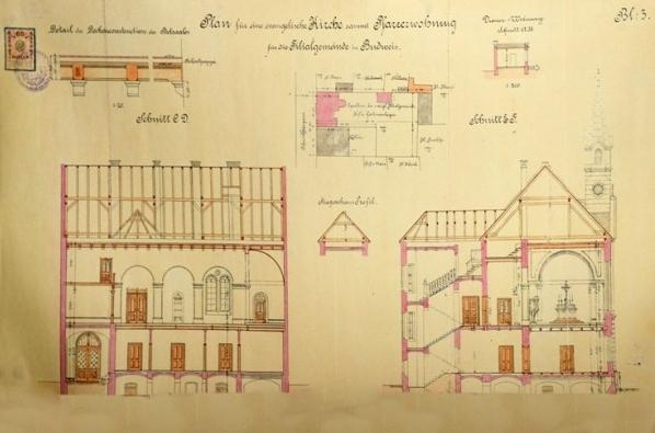 Dva plány evangelického kostela v Českých Budějovicích