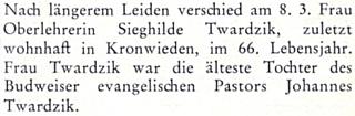O smrti Sieghilde , která zemřela 8. března 1981 vKronwieden (dnes část bavorské obce Loiding) ve věku 66 let