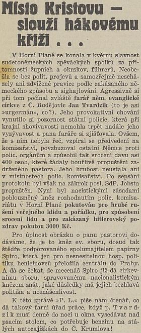 """Článek listu """"Českobudějovické noviny"""" z léta roku 1938 o něm"""