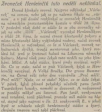 """Peprný sloupek v Jihočeských listech ze září roklu 1938, kde se dočítáme i o českém označení zvonu """"die große Bummerin"""" - znělo Velká Bručka"""