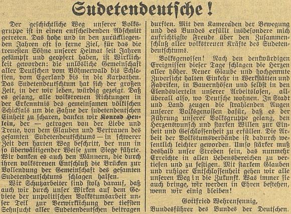 """Výzva k jednotě sudetských Němců z března roku 1938, pod níž se podepsal evangelický farář Wehrenfennig ze severočeských Trnovan (Turn), svědčí o vlivu """"německé"""" církve """"od Šumavy do Slezska, od Chebska do Karpat"""" vnárodně socialistickém duchu"""