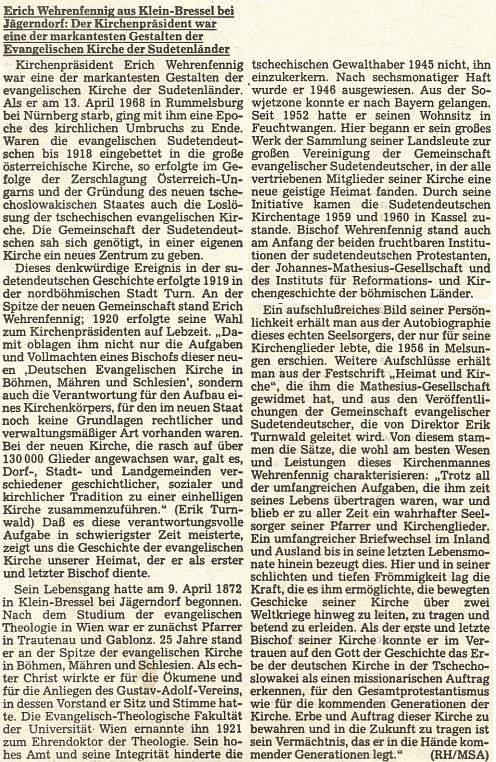 Medailon Ericha Wehrenfenniga, pocházejícího ze Slezska jako Twardzik, na stránkách oficiálního orgánu krajanského sdružení