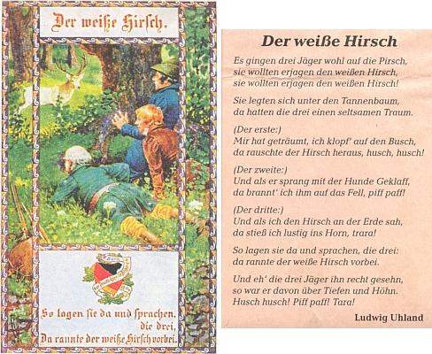 Jeho báseň o bílém jelenovi je motivem pohlednice sdružení Bund der Deutschen in Böhmen