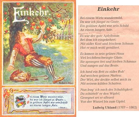 """Jiná pohlednice tohoto sdružení na motivy jeho básně """"Einkehr"""" ozastavení v hospodě  """"U zlatého jablka"""""""