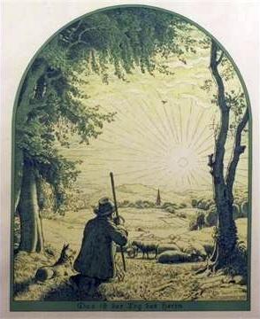 """Litografie německého malíře a grafika Hanse Schroedtera (1872-1957) má název """"Das ist der Tag des Herrn"""", jako prvý verš Uhlandovy Ovčákovy nedělní písně"""