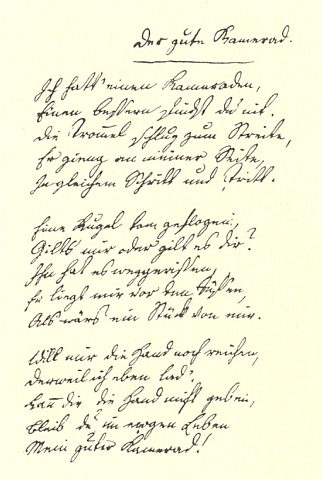 Rukopis básně o dobrém kamarádu, kterou napsal ve svých  21 letech