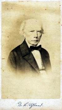 Na snímku z roku jeho skonu 1862, provázeném také Uhlandovým podpisem