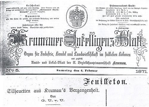 Záhlaví pátého čísla prvého ročníku Krumauer Intelligenz Blatt se závěrem jeho fejetonu