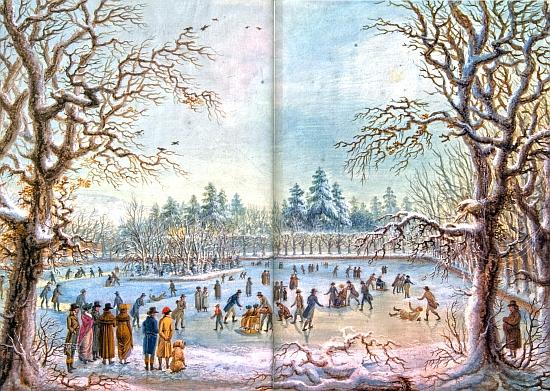 Bruslení na zámeckém rybníku v Krumlově na obraze Ferdinanda Runka z roku 1820