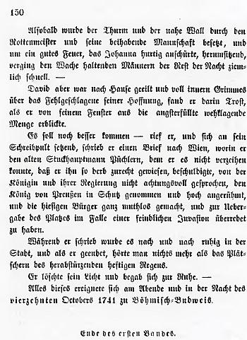"""Titulní list (1848) prvního dílu jeho čtyřdílné """"malby časů a mravů z dob válek o rakouské dědictví"""" a poslední strana tohoto dílu, svědčící o místu děje, jímž tu jsou v říjnu roku 1741 České Budějovice"""