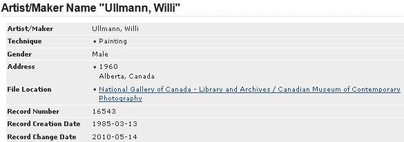 Záznam, evidující Williho Ullmanna z Alberty jako kanadského malíře