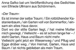 Takto vyhlíželo výslovné přání Anny Gafko ozveřejnění básně Elfriede Ullmannové ze Všeměr (česky se té vsi říkalo také Zvoz či Zvoza)