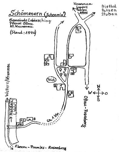 """Plánek někdejší obce Všeměry, kde měli Ullmannovi chalupu čp. 13 (říkalo se tam """"Klein-Kamenik"""")"""